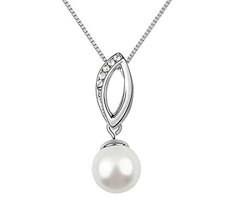 Halskette mit Anhänger für Damen Silberkette mit Swarovski Elemente und Südsee-Perle in 925er Silber von DesiDo (Südseeperlen & Diamant-armband)