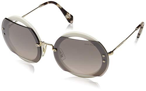 Miu Miu Damen 0MU06SS VAG4P0 63 Sonnenbrille, Weiß (Ivory/Brown Grey Silver)