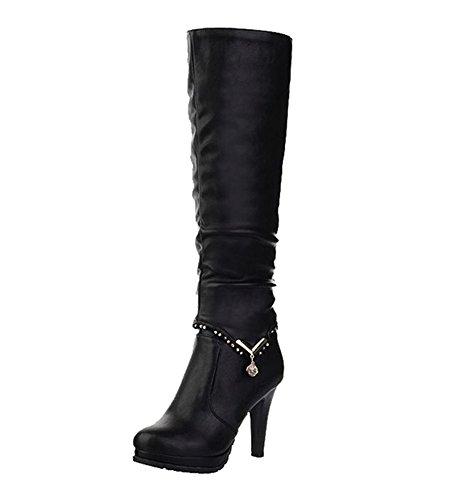 Dayiss Damen Kurzschaft Stiefel & Langschaft Stiefel Stiefeletten High Heels Stiletto Absatz Boots Herbst Winterstiefel Schwarz