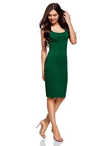 oodji Ultra Damen Jersey-Trägerkleid Grün (6E00N)