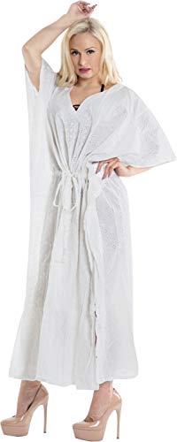 LA LEELA Frauen Damen Baumwolle Kaftan Tunika Plain Kimono freie Größe Lange Maxi Party Kleid für Loungewear Urlaub Nachtwäsche Strand jeden Tag Kleider Weiß_X1024 - Baumwolle Kaftan