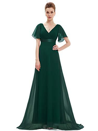 Ever-Pretty Robe de Soirée Longue Femme Col V Manches Courtes 46 Vert Foncé
