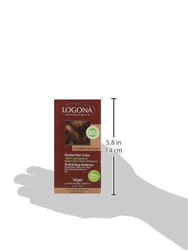 LOGONA Naturkosmetik Coloration Pflanzenhaarfarbe, Pulver - 060 Nussbraun-Kastanie - Braun, Natürliche & pflegende Haarfärbung (100g) - 6