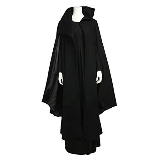 Kostüm Prinzessin Leia Frauen - nihiug Star Wars 8 Prinzessin Leia mit dem Cosplay-Kostüm Das Schwarze Kleid der Frauen kleidet das Halloween-Kostüm,Black-2XL(178to182)