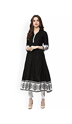 AnjuShree Choice Women's Black Cotton Anarkali Kurti - Black Sizes: S,M,L,XL