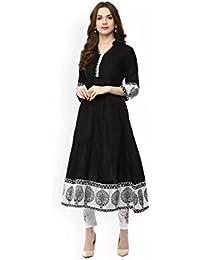 AnjuShree Choice Women's Black Stitched Cotton Kurti Kurta