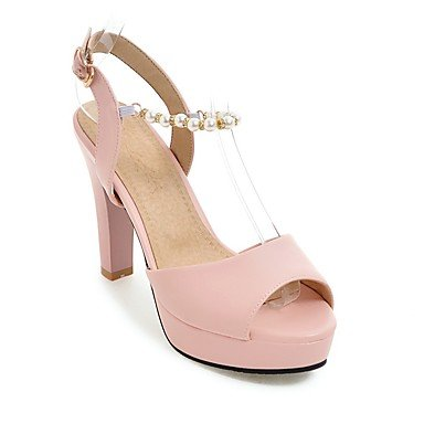 LQXZM Sandales femmes Chaussures occasionnels d'été du Club en simili cuir imitation perle Amande Talon Rouge Rose Noir Blanc 3in-3 3/4 Blushing Pink