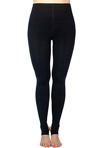 AMORETU Damen Plus Size Strumpfhose Winter Undurchsichtige Gefüttert Schwarze/Hautfarbene 120D Stil A: Schwarz