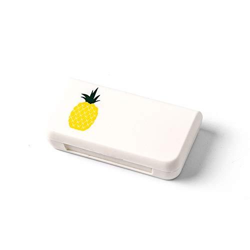 Phononey 1X Tablettendose Schmuckbox Organizier Ananas Form Pillendosen Kunststoff Tablettendose Organisator Tablettenbox Wochendosierer für Make up Reise und täglichen Gebrauch 6.5cm*3.4cm*1.4cm