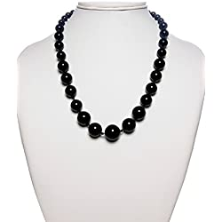 The Haat Semi Precious Reiki Healing Crystal Onyx Gemstone Necklace (Black)