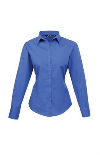 premier-womens-ladies-poplin-long-sleeve-blouse-plain-work-shirt-14-royal