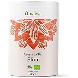 """""""Slim"""" 80g, ayurvedischer Tee zum abnehmen / Kräutertee (mit grünem Tee, Mate, Lemongras, Pai Mu Tan, Zitrone und Matcha) - aus kontrolliert biologischem Anbau, hergestellt in Deutschland)"""