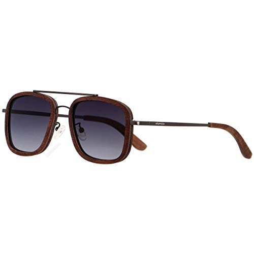 ANDWOOD Aviator-Sonnenbrille für Herren und Damen, Vintage-Holz-Lampen, Ebenholzrahmen, Walnussholz, oval, Braun/Grün/Schwarz