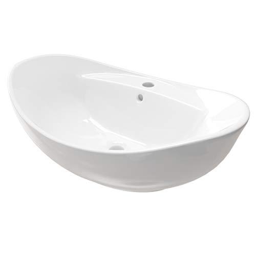 Keramik Aufsatzwaschbecken KBW011 Waschtisch Waschschale Waschbecken Oval Weiß mit Armaturloch 60 cm