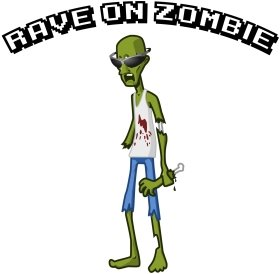 Mister Merchandise Cooles Herren T-Shirt Rave On Zombie Party Gelb