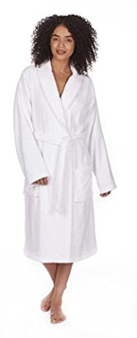 Ladies Towelling Robe Dressing Gown, 100% Cotton Bath Robe, B84, By Daisy Dreamer®, Medium White
