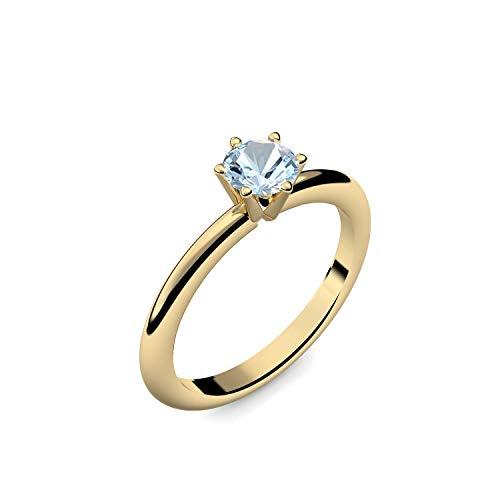 Goldring Aquamarin 585 + inkl. Luxusetui + Aquamarin Ring Gold Aquamarinring Gold (Gelbgold 585) - Precious Amoonic Schmuck Größe 54 (17.2) AM195 GG585AQFA54