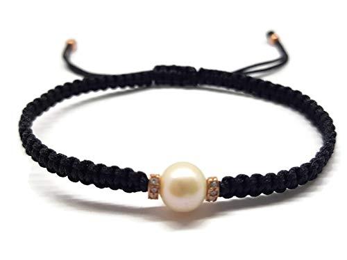 Imagen de mystic jewels  pulsera con perlas mayorica macrame hecho a mano black
