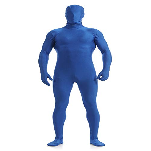 IWEMEK Herren Zentai Jumpsuit Second Skin Kostüm Full Bodysuit Zipper Catsuit Overall Reißverschluss Bodys Clubwear Männerbody Ninja Cospaly Karneval Halloween Ganzkörperanzug Nachtwäsche Blau 3XL