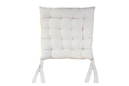 Antarris Sitzkissen Polsterauflage Sitzauflage Stuhlkissen Yogakissen 40 x 40cm, grau, weiß Indoor Kissen aus 100% Baumwolle, fair gehandelt