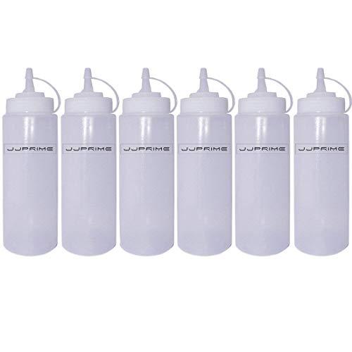 JJOnlineStore–Kunststoffspender, Spenderflasche zum Pressen, für Ketchup, Senf, Chili, Mayonnaise, Sauce, Essig, mit Deckel, 6 Stück, transparent, durchsichtig, 24 Oz / 700ml
