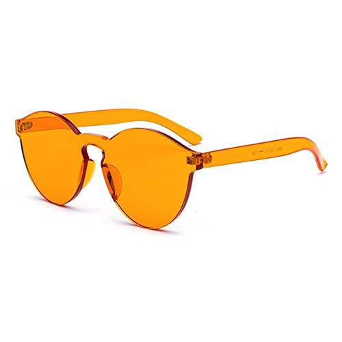 Highdas Frauen Männer Candy Farbe Randlose Kunststoff Glas One Piece Objektiv Rote Sonnenbrille C2