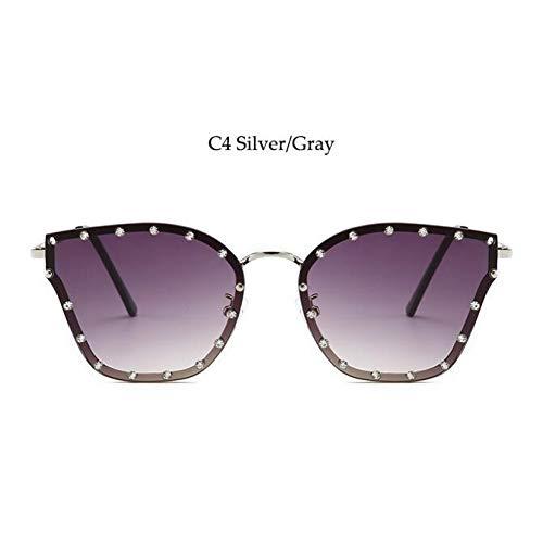 WAQWYQ Gläser Fashion Schwarze Sonnenbrille Strass rund um Sun -Gläser für Frauen -Weinlese -Schutzbrillen