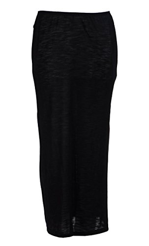 Black Viscose Knit Long Slip Skirt Under Dress - Final Sale-Black-M  available at amazon for Rs.913