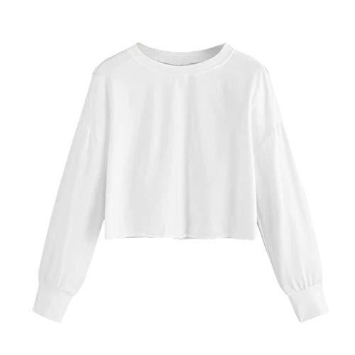 TEFIIR Sweatshirt für Damen, Halloween Mode Lässig Rundhals Einfarbig Langarm Pullover Lose Große Tops Geeignet für Freizeit, Dating und Urlaub (Premium-rundhals-sweatshirt Erste)