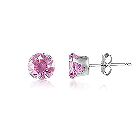 6MM Classic Brilliant Round Cut CZ Sterling Silver Stud Earrings - PINK or Choose From 13 Colours. 6-PINK