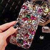 eckt lu2000Apple iPhone 7(11,9cm) Zoll Furry Rex Kaninchen Fell Flauschig Handy Fall Bling Kristalle Diamond Sparkle Bedazzled + Gratis Telefon Samtbeutel, Pattern: Red Theme ()