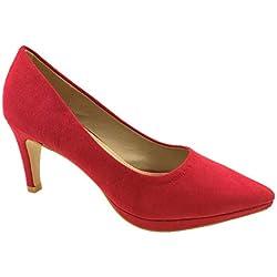 Azaray - Zapatos de Vestir de Sintético para Mujer, Color Rojo, Talla 37 1/3