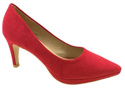 Zapatos de tacón bajo para Mujer, de Ante sintético, Suela de Piel, Talla 42 a 38, Color Rojo, Talla...