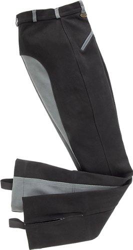 USG Damen Jodhpur Reithose BIRGIT mit Leder Patch, zwei schräg Taschen/mit vorne unten, Größe 42, Schwarz/Grau (Unten Tasche)