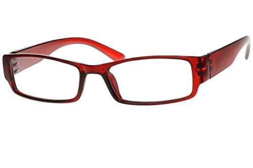 Lesebrille für Damen Herren eckig in blau schwarz braun rot sehr leicht Kunststoff 1.0 1.5 2.0 2.5 3.0 Dioptrien Lesehilfe Sehhilfe Brille, Dioptrien:Dioptrien 1.5, Farbe:Rot