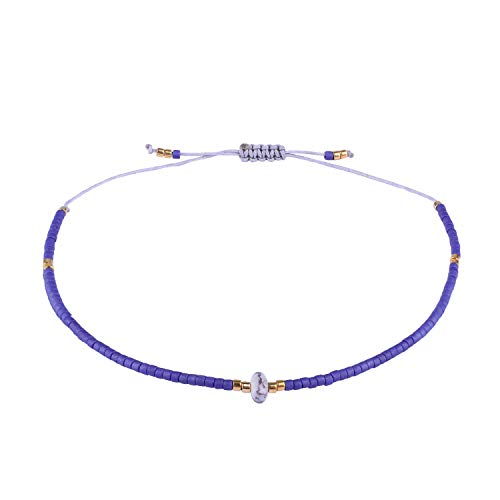 KELITCH Armband Frauen Männer Japanischen Rocailles Delicate Stein Freundschaftsarmbänder Handmade Einstellbare String Armreif Bettelarmband Armbänder (Dunkelblau)