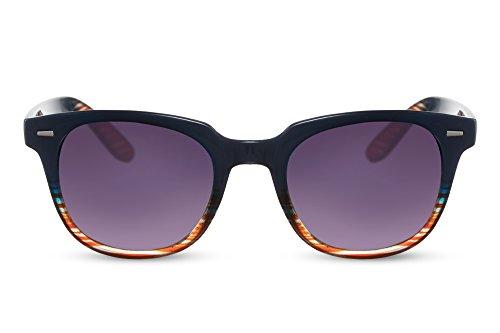 Cheapass Sonnenbrille Blau Buntes Muster Gradient Verlaufsglas UV-400 Klassisch-Cool Plastik Damen Herren