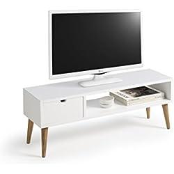 Hogar24-Mesa televisión, mueble tv salón diseño vintage, cajón y estante, color blanco. Medidas 100 cm x 40 cm x 30 cm