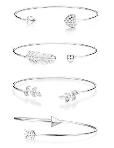 Yadoca 4 Pcs Bracelet d'ouverture en Alliage Cœur Plume Feuille Flèche Forme Manchette Bracelet Jonc pour Femme Fille Ajustabl