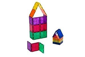 Playmags Conjunto de 30 Piezas cuadradas Ahora con imanes más Fuertes, Resistentes y duraderos, con baldosas de Colores Vivos y Transparentes.