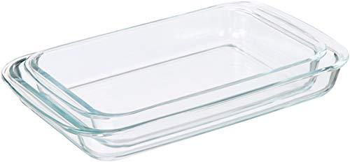 AmazonBasics - Plats de cuisson rectangulaires en verre - Lot de 2