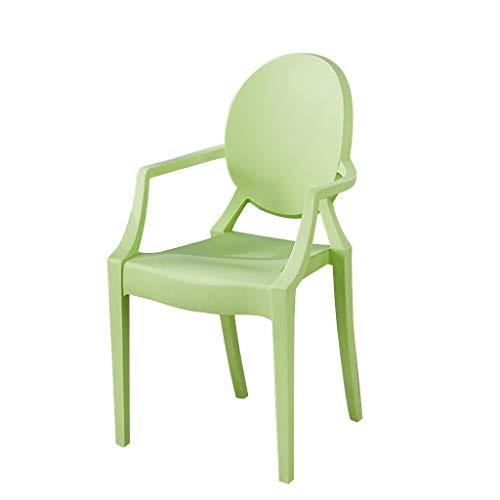 LXQGR Plastikgartenstühle, Küche-Gegenbüro-Aufenthaltsraum-Wohnzimmer-Stühle Wannen-Stuhl Lehnsessel mit Gegenständer u. Armlehnen (Color : Green)
