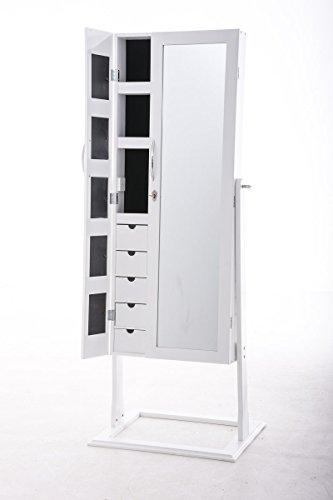 CLP Schmuckschrank Standspiegel BONITA, Bilderrahmen integriert, viele Steckplätze + Haken für Schmuck & Accessoires Weiß - 2