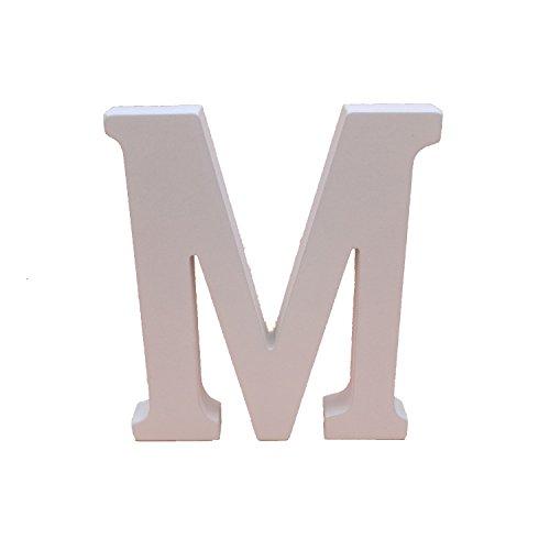 Asdomo Woodcraft Blanc lettres en bois 15 cm lettres de l'alphabet Mariage Fête d'anniversaire Maison Chambre d'enfant Décoration murale, Bois dense, m, 15 cm