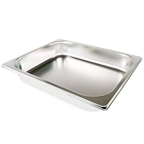 cleenbo Edelstahl Gastronormbehälter 55 mm tief ungelocht 1/2 (GN), Gastronorm Behälter aus rostfreiem 4301 Edelstahl, spülmaschinenfeste Edelstahl Gastronomie Wanne, Maße: 32,5 x 26,5 x 5,5 cm