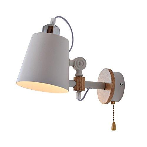 KMYX Réglable Vintage Iron Art Petite Lampe de Mur Américain Country Style Lampe de Chevet Pour Chambre Enfants Chambre Nuit Lumière Étude Petite Lampe de Lecture Pour Stairwell Allée Cuisine Mur Lumière Appliques ( Color : White-With switch )
