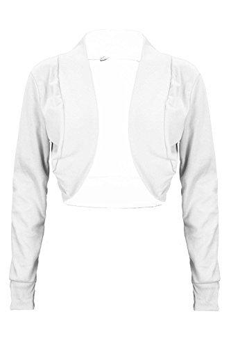Dames Uni Côtelé Complet Manches Longues Bout Ouvert Élastique Coton Bolero Femmes Cardigan Boléro Veste Haut Court Blanc