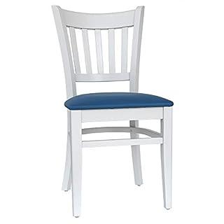 abritus 2er-Set Stühle Stuhl Esszimmerstühle Buche massiv weiß Gepolstert blau »T002«