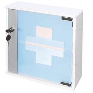 Spetebo Holz Medizinschrank weiß mit Glastür – Medikamentenschrank aus Massivholz – abschließbar