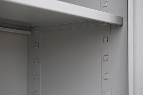 Flügeltürenschrank Schrank Stahl Stahlblech Lagerschrank Aktenschrank 4 Fachböden 530340 Lichtgrau 1950 x 920 x 420 mm, kompl.montiert und verschweißt - 6
